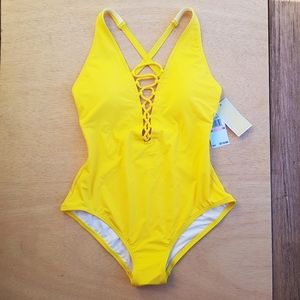 Michael Kors Gold Yellow One Piece Women's Swimsui
